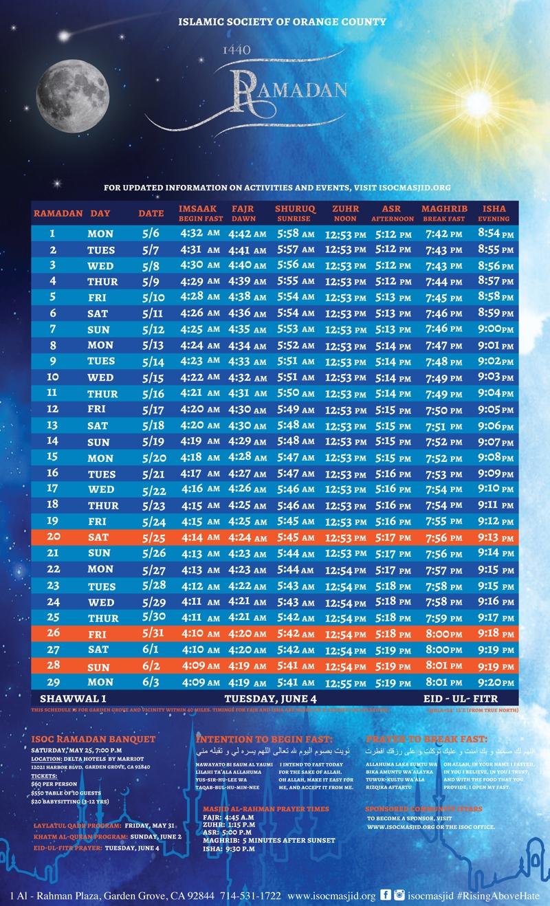 Ramadan Calendar 2019.Ramadan Timetable Isoc